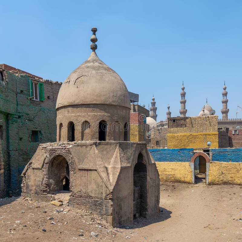 Ruins of Mausoleum of Sidi Al Komi, Old Cairo, Egypt. Ruins of Mausoleum of Sidi Al Komi, Darb el Labbana district, Old Cairo, Egypt royalty free stock images
