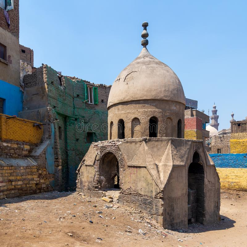 Ruins of Mausoleum of Sidi Al Komi, Old Cairo, Egypt. Ruins of Mausoleum of Sidi Al Komi, Darb el Labbana district, Old Cairo, Egypt stock images