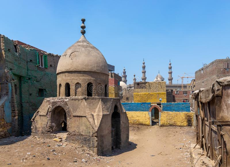 Ruins of Mausoleum of Sidi Al Komi, Old Cairo, Egypt. Ruins of Mausoleum of Sidi Al Komi, Darb el Labbana district, Old Cairo, Egypt stock photos