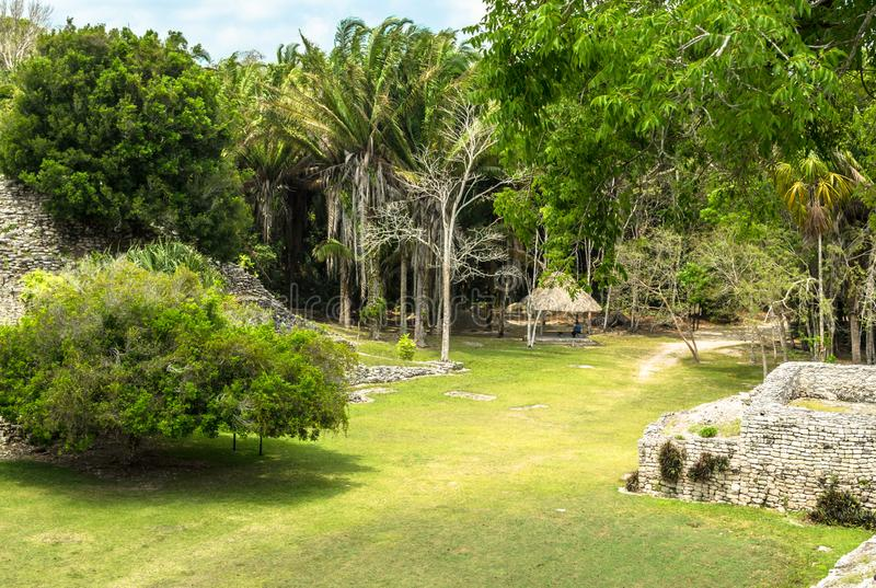 Ruins at the Mayan city of Kohunlich - large archaeological site of the pre-Columbian Maya civilization stock photos