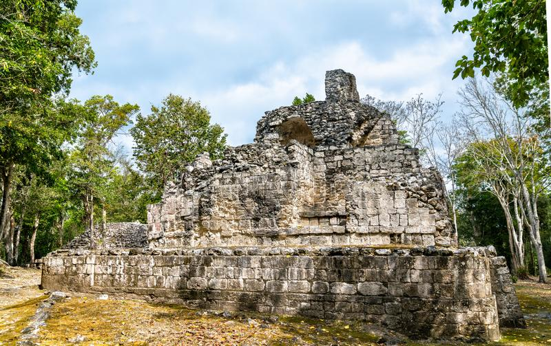 Ruins of a Mayan pyramid at Chicanna in Mexico. Ruins of a Mayan pyramid at the Chicanna Site in Campeche, Mexico stock images