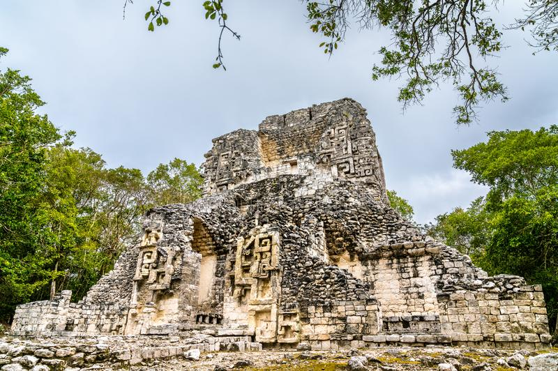 Ruins of a Mayan pyramid at Chicanna in Mexico. Ruins of a Mayan pyramid at the Chicanna Site in Campeche, Mexico stock photo