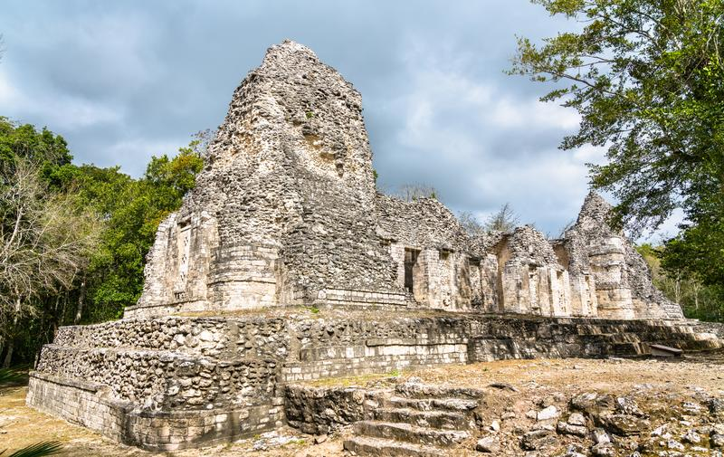 Ruins of a Mayan pyramid at Chicanna in Mexico. Ruins of a Mayan pyramid at the Chicanna Site in Campeche, Mexico royalty free stock photography