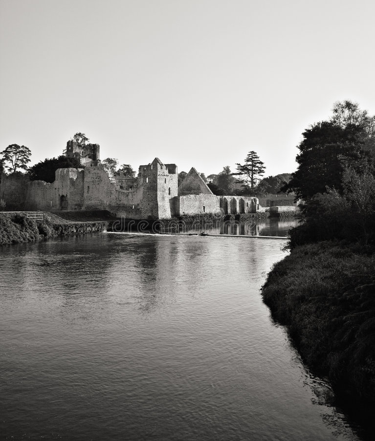 Ruins of medieval Adare Castle stock image