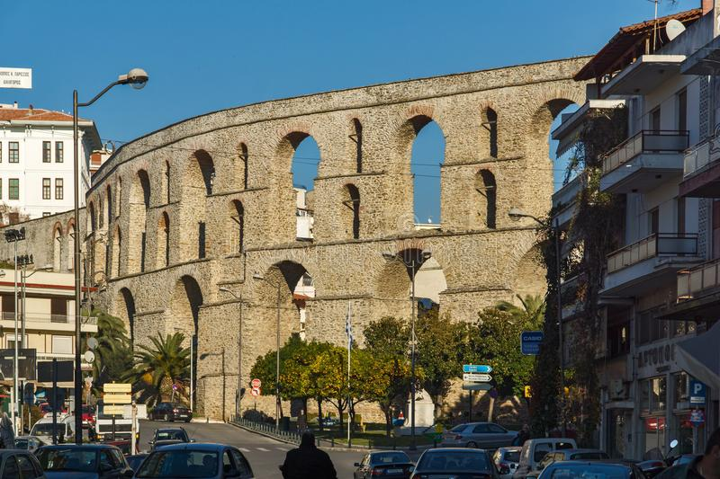 Ruins of medieval aqueduct in Kavala, East Macedonia and Thrace, Greece. KAVALA, GREECE - DECEMBER 27, 2015: Ruins of medieval aqueduct in Kavala, East Macedonia royalty free stock photos