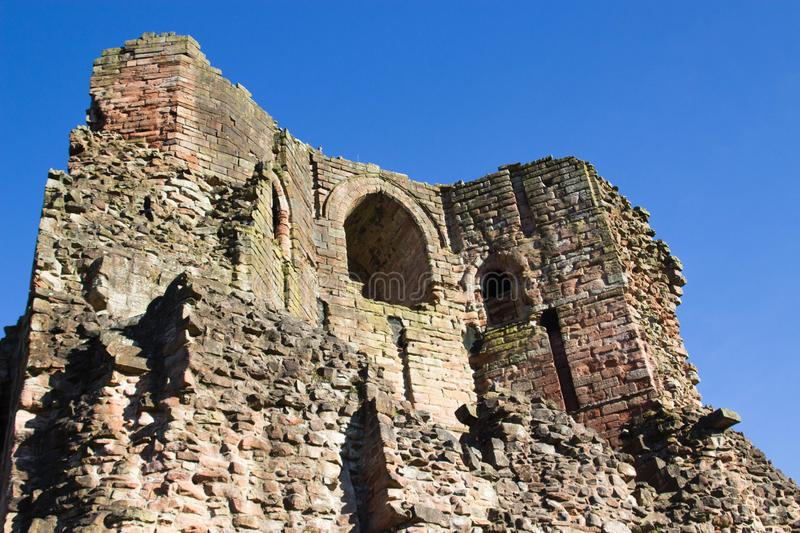 Ruins of Medieval Bothwell Castle Against Blue Sky royalty free stock images
