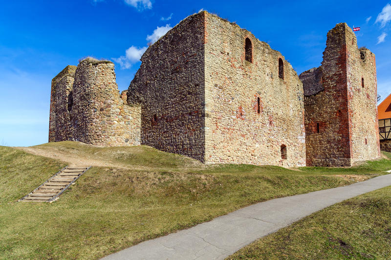 Ruins of the medieval castle in Bauska, Latvia stock photo