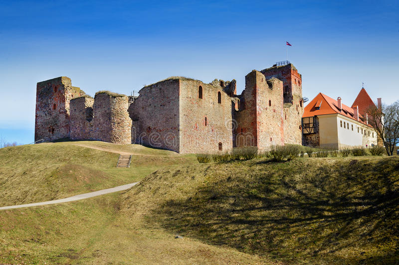 Ruins of the medieval castle in Bauska, Latvia.  stock photography