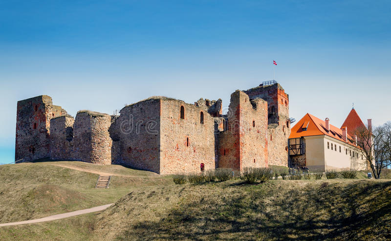 Ruins of the medieval castle in Bauska, Latvia.  royalty free stock photography