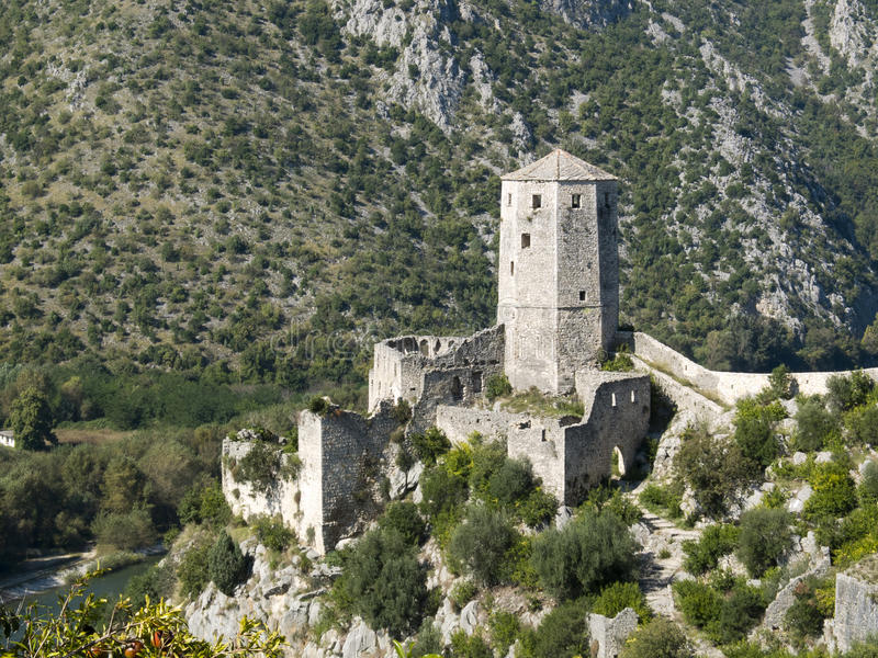 Ruins of the medieval castle of Pocitelj, Bosnia. royalty free stock photo