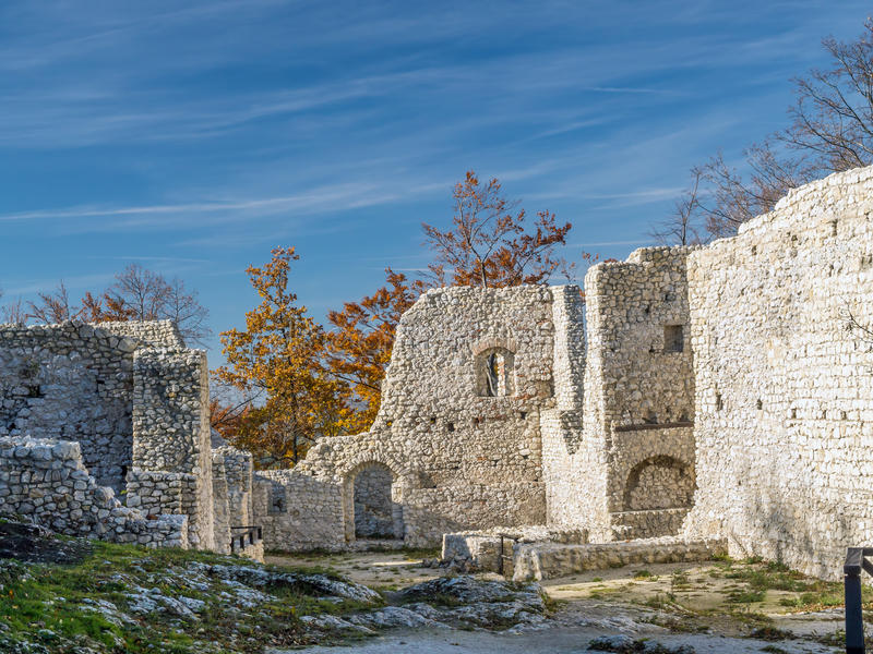 Ruins of medieval castle Smolen. Near Pilica. located on the Trail of Eagles' Nest within the Krakow-Czestochowa Upland, Poland royalty free stock images