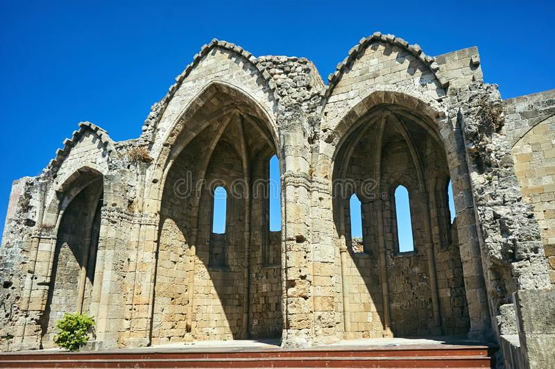 Ruins of a medieval church in the city. Of Rhodes stock photography