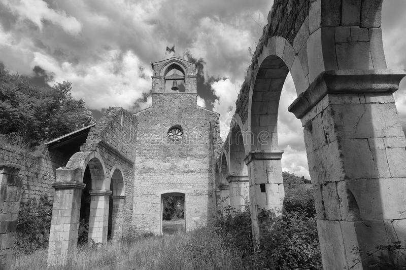Ruins of Santa Maria di CartIgnano Abruzzi, Italy stock photo