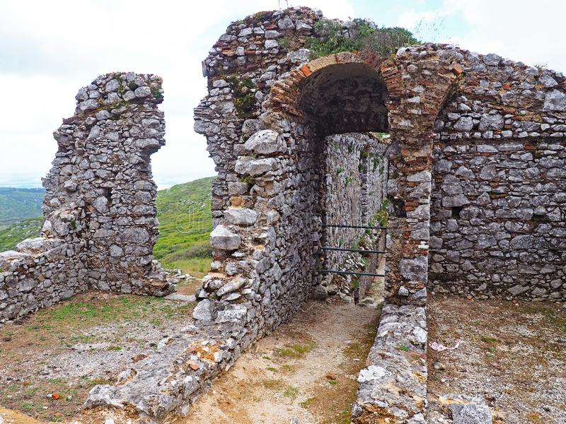 The ruins of a medieval convent at the summit of Montejunto Mountain, Portugal. On top of Montejunto mountain or Serra de Montejunto, close to N. Sra. das Neves royalty free stock photos