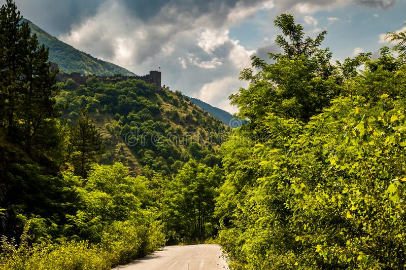 Ruins of medieval fortress Maglic on top of hill by the Ibar river in Serbia royalty free stock photos