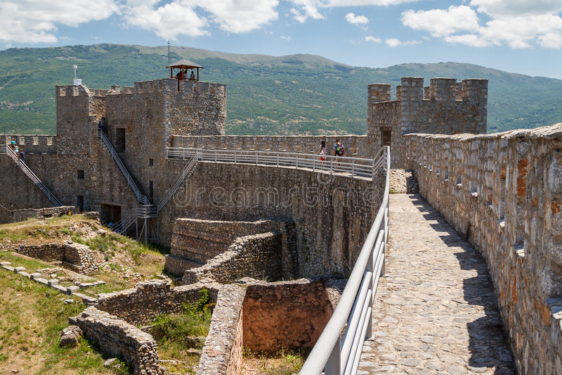 Ruins of the medieval fortress in Ohrid stock images