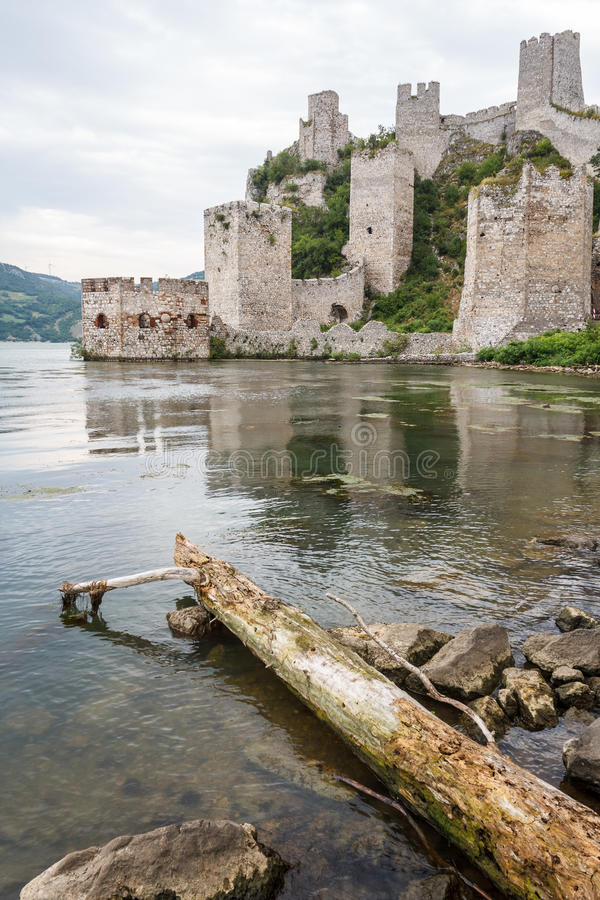 Ruins of the medieval Golubac fortress stock photography