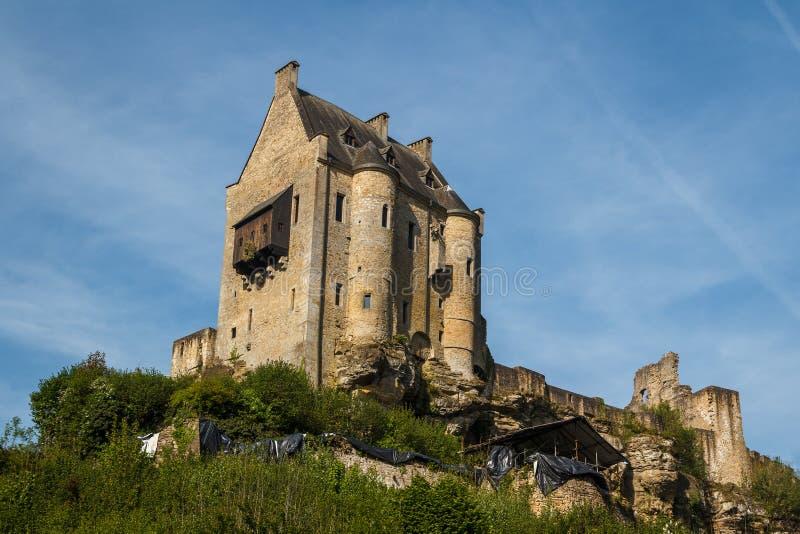 Ruins of the medieval Larochette castle stock photo