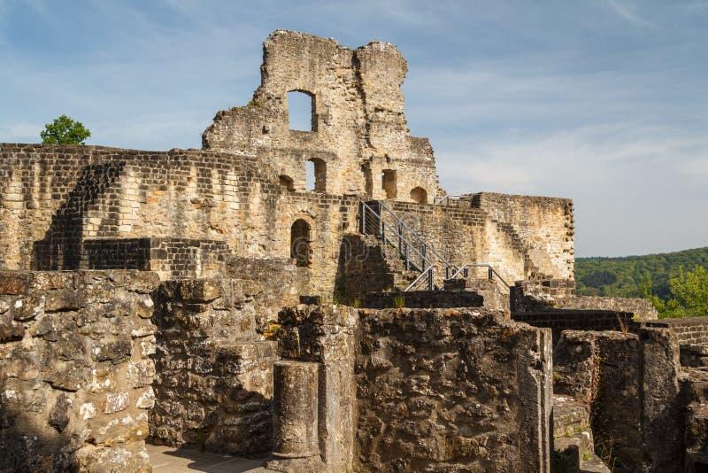 Ruins of the medieval Larochette castle stock image