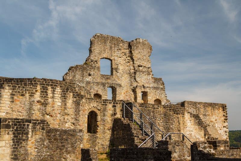 Ruins of the medieval Larochette castle stock images