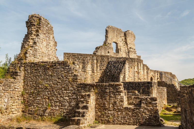Ruins of the medieval Larochette castle royalty free stock image