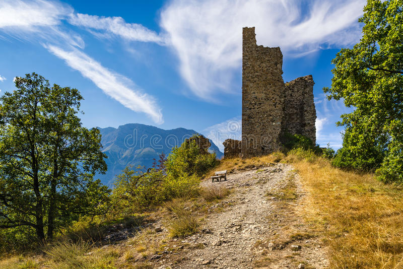 Ruins of medieval Saint-Firmin castle. Valgaudemar, Alps, France stock images