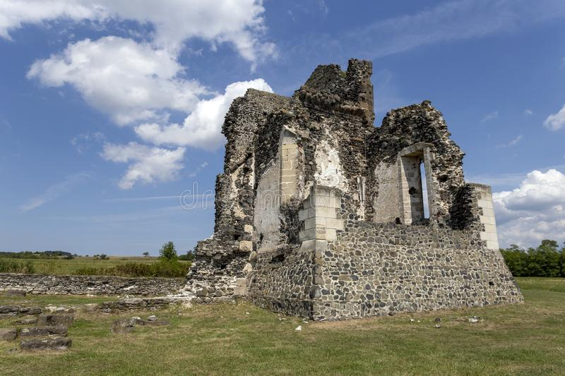 Ruins of the medieval St. Andrew church in Taliandorogdi, Hungary.  royalty free stock images