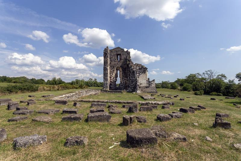 Ruins of the medieval St. Andrew church in Taliandorogdi, Hungary.  stock photo
