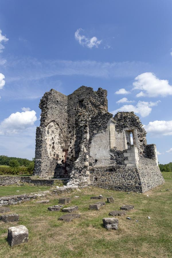 Ruins of the medieval St. Andrew church in Taliandorogdi, Hungary.  stock photos
