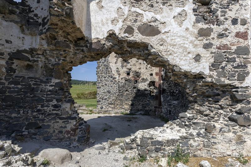 Ruins of the medieval St. Andrew church in Taliandorogdi, Hungary.  royalty free stock image