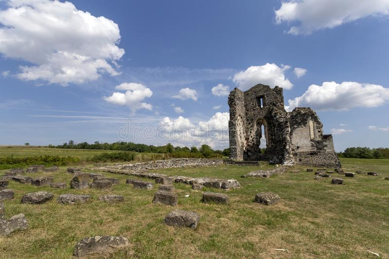 Ruins of the medieval St. Andrew church in Taliandorogdi, Hungary.  royalty free stock photos