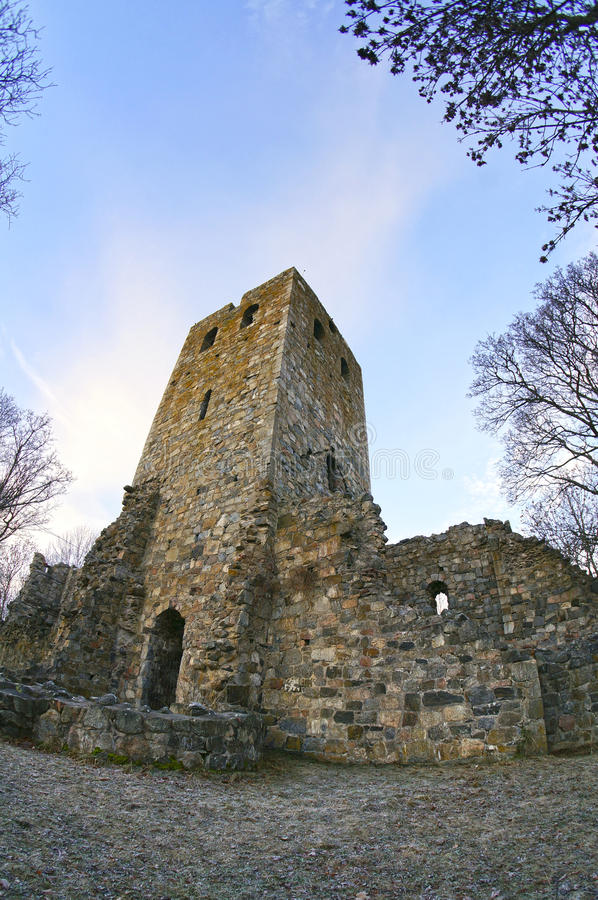 The ruins of the medieval St Peter's church. Sigtuna, Sweden. January 06, 2013 royalty free stock photography