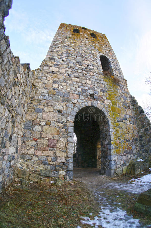 The ruins of the medieval St Peter's church. Sigtuna, Sweden. January 06, 2013 royalty free stock photos