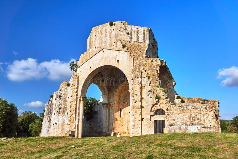 Ruins of a medieval stone church next to the town of Magliano in Toscana. Italy royalty free stock photo