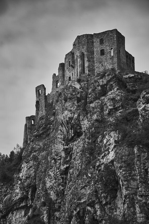 The ruins of medieval Strecno castle near Zilina in Slovakia in. Black and white royalty free stock photos