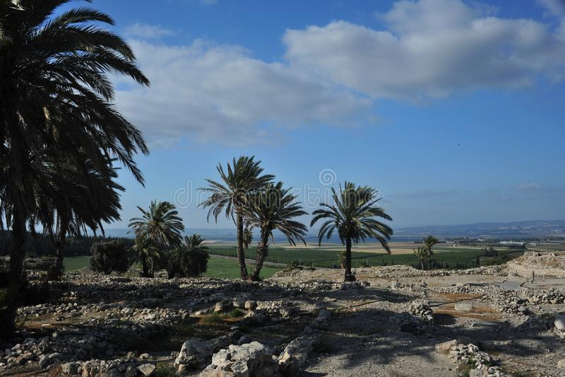 Ruins of Megiddo. In Israel with Valley of Jezreel in background, scene of Armageddon stock photos