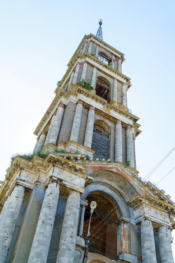 Ruins of a 75 meter high bell tower in the style of classicism, stock photo