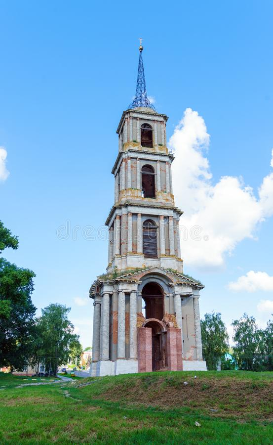 Ruins of a 75 meter high bell tower in the style of classicism, stock images