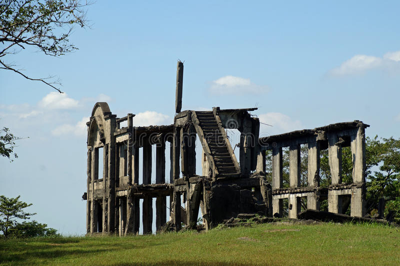 Ruins of the mile long barracks on Corregidor Island, Manila Bay, Philippines. They were bombed twice both when the Japanese originally took the island and stock image