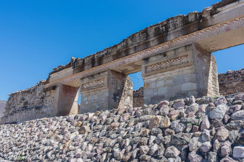 Ruins in Mitla , Mexico. Ruins in Mitla near Oaxaca city. The most important of the Zapotec culture centers in Mexico stock photo
