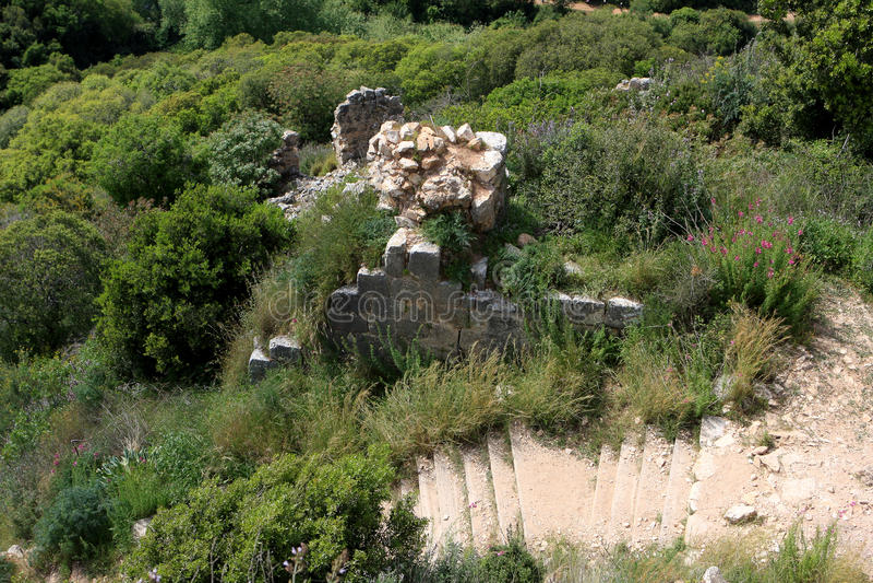 Ruins of Monfort castle, Israel stock photo