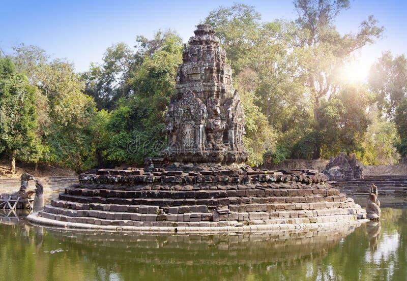 Ruins of Neak Pean12th Century - religious architecture landmarks buildings complex near Siem Reap, Cambodia stock photography