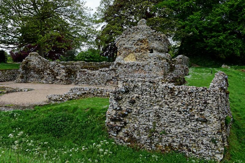 Ruins of North Elmham Bishops Chapel, Norfolk, UK. Ruins of North Elmham Bishops Chapel, Norfolk, England, built on the site of the original cathedral for the stock photography