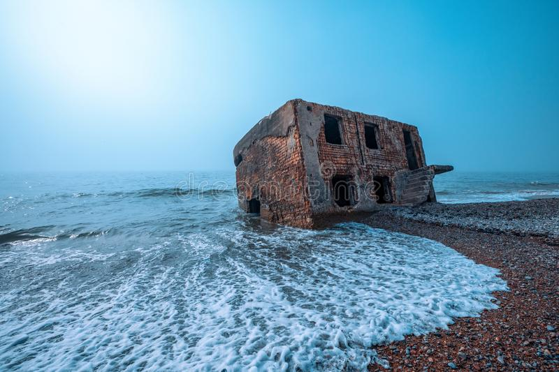 Ruins in the sea, Liepaja, Latvia. Ruins of the Northern fort in the sea, Liepaja, Latvia royalty free stock image