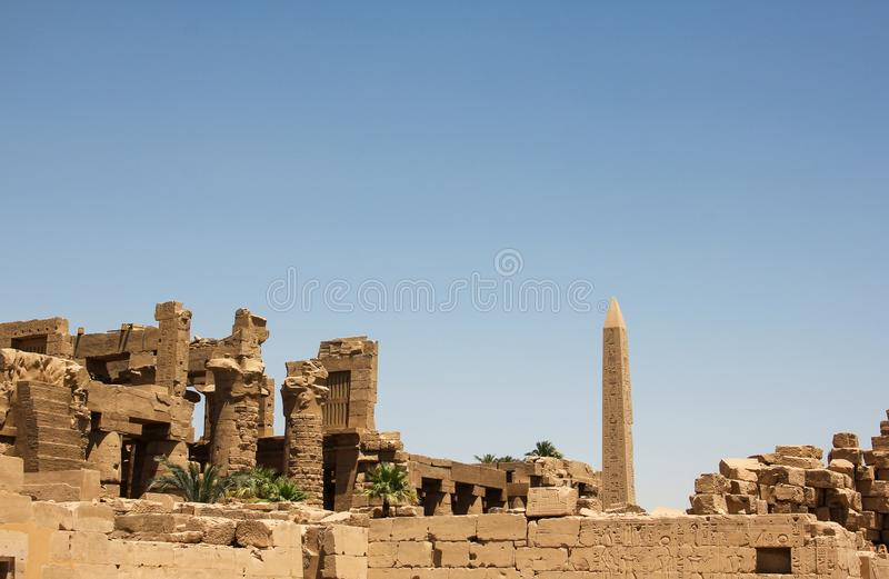 Ruins and obelisk in the complex of the Karnak temple, ancient architecture of Egypt in Luxor stock photos