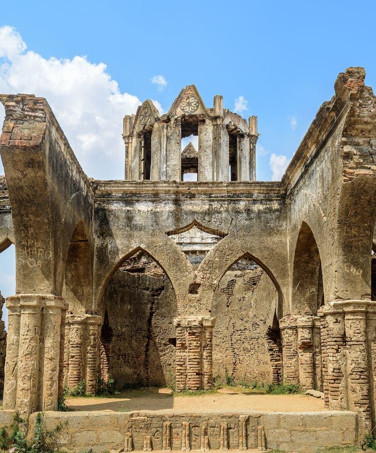 Ruins of old French Rosary church, Settihalli, Karnataka stock image