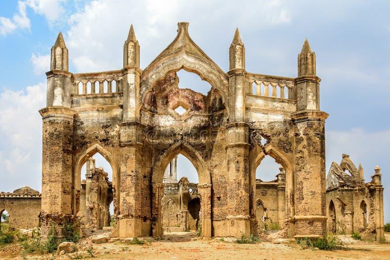 Ruins of old French Rosary church, Settihalli, Karnataka royalty free stock photo