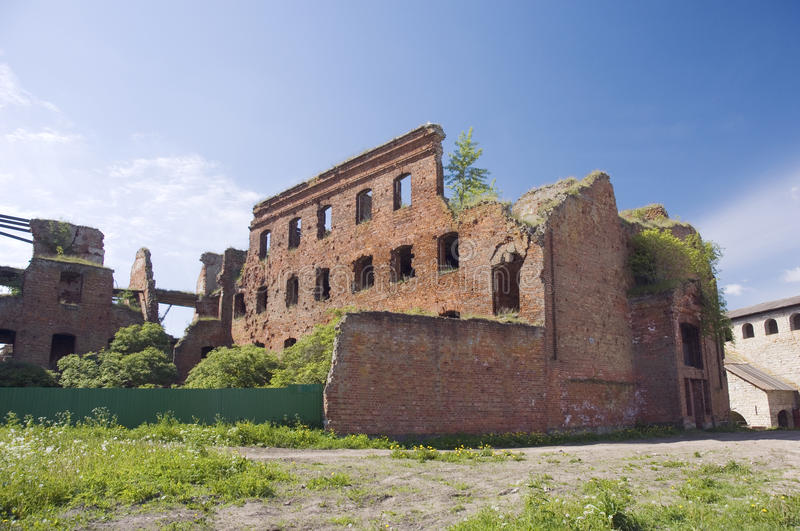 Ruins of old barracks in Noteburg fortress royalty free stock photo