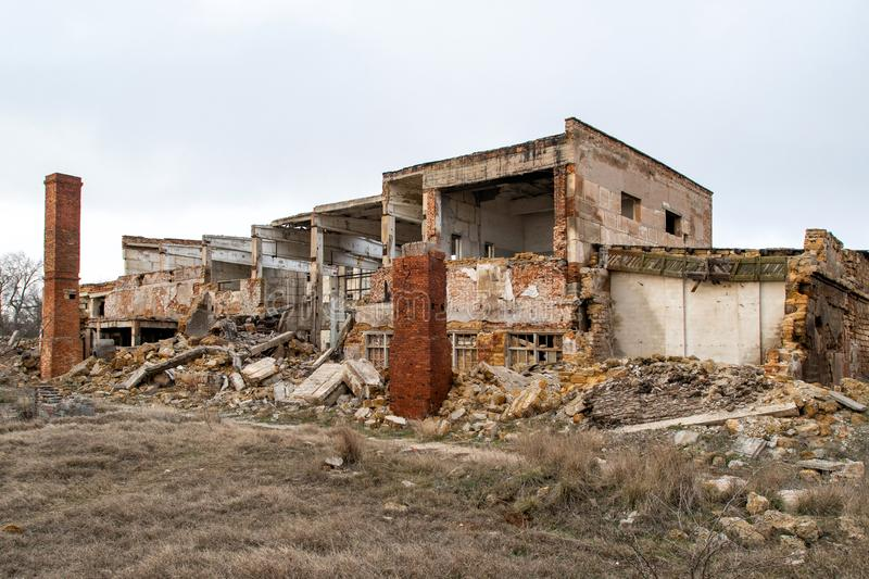 The ruins of the old building. Removal of buildings and factories royalty free stock photos