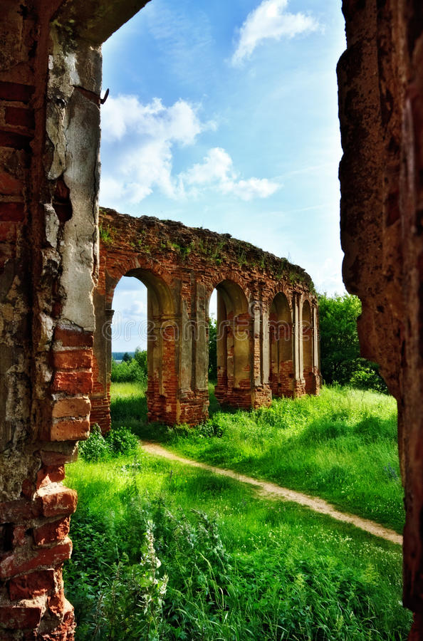 Ruins of old castle. Old castle ruins at sunny summer day stock images